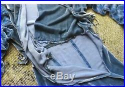 1920s 1930s Blue Silk Velvet Devore Jumpsuit One Piece Rhinestone Vintage Rare