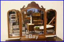 1940's Antique Vintage Mahogany 48 Vanity w. Tri-Fold Mirror