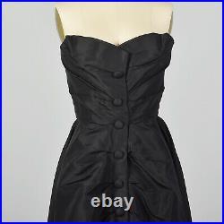 1940s Christian Dior New Look Formal Evening Dress Designer Black Silk LBD 1950s