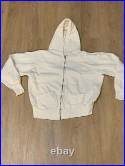 1950s 1960s Zip Up White Hoodie