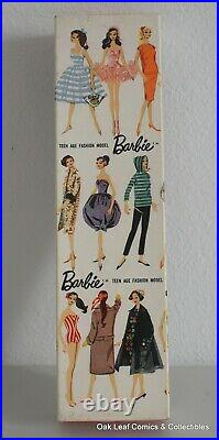 1959 Brunette #1 Barbie doll, all original with TM box & stand! Full of color