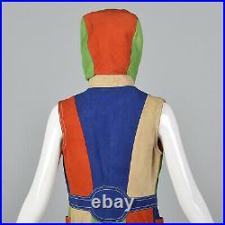 1960s Mod Color Block Suede Vest Hood Hooded Patchwork Leather Jacket Coat VTG