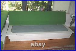 1970's Green White 2 piece Sofa Original Fabric & Cushions MCM Mod Mod Mod! OO7
