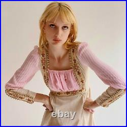 1970s Vintage Renaissance Gunne Sax Style Dress with Embroidered Flower Trim