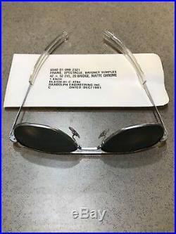 1991 Vintage Randolph Engineering matte chrome vs silver Aviator Sunglasses 52mm