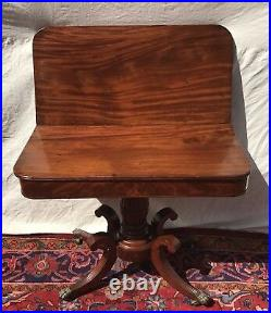 19th C Classical Federal Antique Game / Card Table Console Isaac Vose Boston