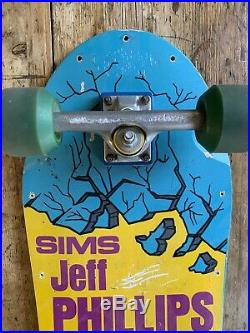 80s Vintage 1984 SIMS Jeff Phillips Pro Model Skateboard Original Trucks Wheels
