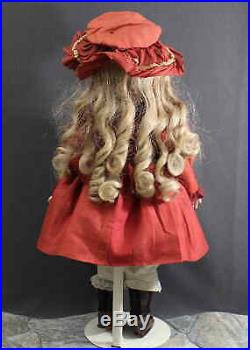ANTIQUE'TETE JUMEAU' FRENCH BeBe BISQUE DOLL with MARKED DRESS