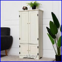 Accent Storage Cabinet Adjustable Shelves Antique 2 Door Floor Cabinet White