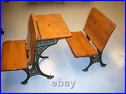Antique Cast Iron and Wood School Desk, Mint Condition