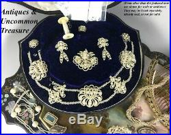 Antique Georgian to Early Victorian 18k Seed Pearl Parure, Box, Necklace, Brooch
