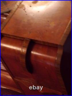 Antique Vanity Dresser Round Mirror Art Deco Hand Painted Gold Paint Wood Chest