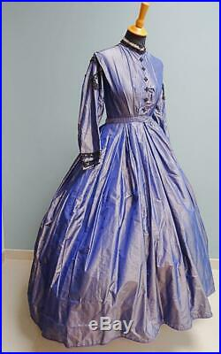 Antique Victorian Dress Semi Mourning Taffeta Crinoline Civil War Era c1860