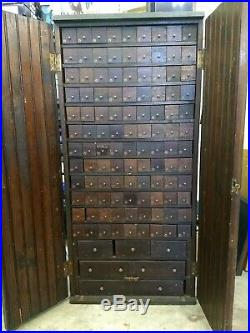 Antique Vintage 114 Drawer Apothecary Cabinet Cupboard / Bank of Drawers 114