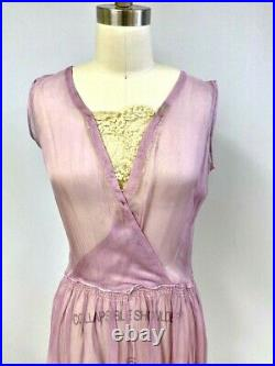 Antique Vintage 1920s Lavender Flapper Dress Sheer Georgette Dropped Waist S/M
