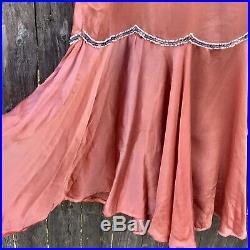 Antique Vintage 1920s Silk Beaded Flapper Dress Drop Waist Xsmall Repairs As Is
