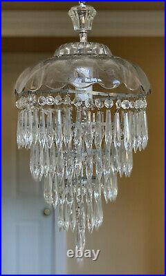 Antique Vintage Art Deco Clear Crystal Glass Wedding Cake Chandelier