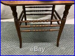 Antique Vintage Quartered Tiger Oak Wood Vanity Bench