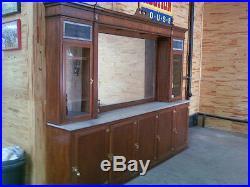 Backbar Large Drug Store Counter Step Back Stained Glass Vintage Furniture