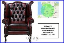 Brand New Chesterfield Queen Anne High Back Wing Chair In Antique Real Leather