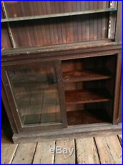 C1890 vintage country store cabinet PA origin 12 3 x 99 x 16 open shelving