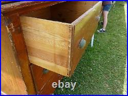 C1910-20 BUILT in PANTRY cabinet COUNTER multi drawer Heart pine 11' x 41 x 25