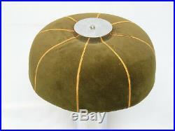 CHIC VINTAGE 70's CHROME BASE MOHAIR SHADE MUSHROOM TABLE LAMP 27