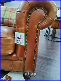 Chesterfield Halo Luxury Vintage Distressed Real Leather 2 Seater Sofa Tan