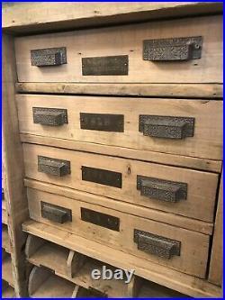 Circa 1880 Sandblasted Eastlake Technical Industrial Cabinet 8 Drawer 16 Trays
