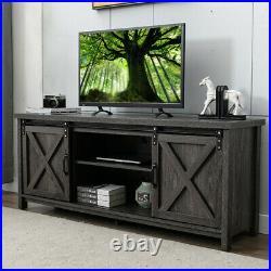 Farmhouse Sliding Barn Door TV Stand for 65 in TV Entertainment Center Cabinet