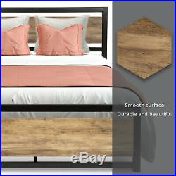 Full Size Platform Bed Frame Mattress Foundation with Metal Slats & Wood boards