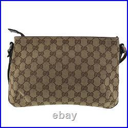 GUCCI Original GG Canvas Web Stripe Shoulder Bag Brown Italy Authentic #SS236 O