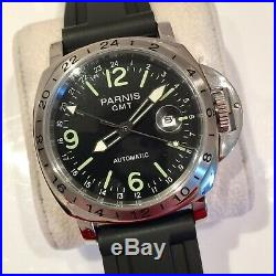 Genuine Parnis Military GMT Automatic Mens Watch Italian Pilot Navy Homage New