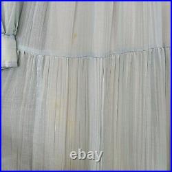 Gunne Sax Vintage 1970s Prairie Blue Dress Lace Up