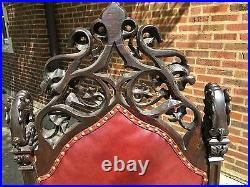 Italian Goth Griffin Highly Detailed Pierced Carved Leather Throne Chair 56 H