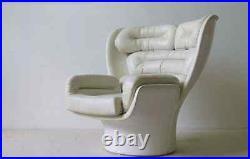 Joe Colombo 1963 Elda Fibreglass Arm Chair Leather White