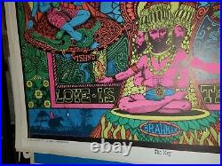 LOVE IS THE KEY 1970's VINTAGE BLACKLIGHT NOS POSTER INDIA EVENING RAGA -NICE