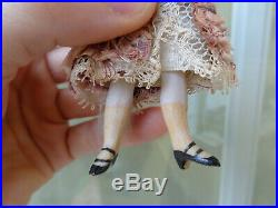 Lovely antique French Mignonette dollhouse doll closed mouth original silk dress