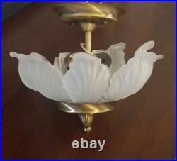MURANO Frosted Glass Leaf French Art Nouveau Semi Flush mount Chandelier Italian