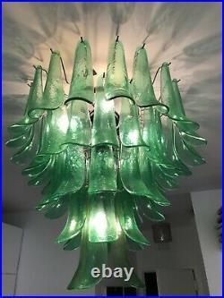 MURANO Italian Venetian Art Glass Mazzega Emerald Green Chandelier MCM Italy