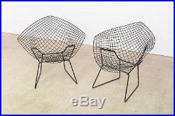 Mid Century Harry Bertoia Knoll Black Diamond Wire Chair Vintage Matching Pair