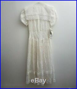 NEW Gunne Sax Jessica McClintock Lace White Long Dress Bib Prairie VTG 80s