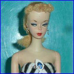 Orig Vintage 1959 #1 Ponytail Barbie Doll With All Original Paint Rare