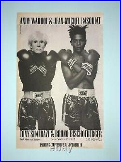 Original Basquiat Warhol 1985 Gallery Opening Advertisment Vintage Poster Boxing