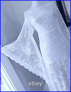 Plus Size VTG White Sheer Lace Wedding Gown BoHo Hippie Bell Sleeve Maxi DRESS