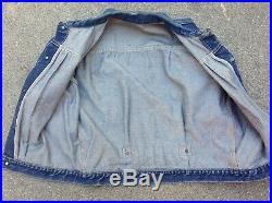 RARE Type 1 LEVIS DENIM JACKET One Pocket BUCKLE BACK One Sided BIG E tag 506xx