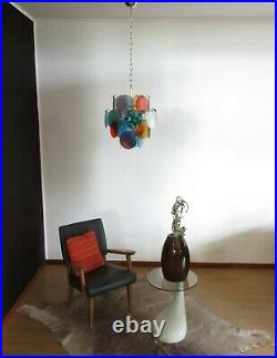 RESERVED1970s Vintage Italian Murano chandelier lamp in Vistosi style 24 disk
