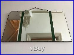 Rare Art Deco 1930s Green Tint Frameless Odeon 5 Panel Mirror LARGE 66x40cm m213