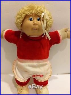 Rare Vintage 1986 Original Clothing Cabbage Patch Blonde Hair Blue Eyes