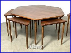 Rare Vintage Mid Century Danish Modern Hexagon Coffee Table Nesting Stacking Set